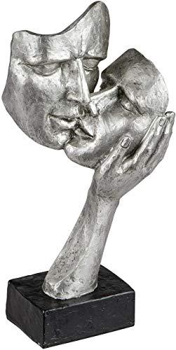 Lifestyle & More Exklusive Deko Büste Skulptur Liebespaar aus Keramik schwarz/Silber Höhe 30 cm
