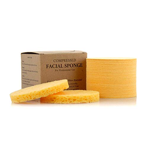 Facial Sponges - APPEARUS Compressed Natural Cellulose Face Sponge - Made in USA - Spa Sponges for Face Cleansing, Massage, Pore Exfoliating, Mask, Makeup Removal (50 Count/Yellow)
