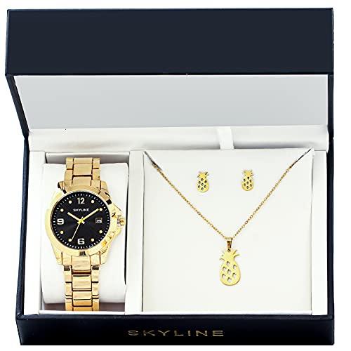 SKYLINE, Conjunto de Accesorios para Mujer, Reloj de Pulsera, Collar y Pendientes con Diseño de Piñas, Acero Inoxidable, Cumpleaños, Aniversario, etc, Color Dorado