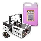beamZ S1500LED Nebelmaschine mit LED - DMX, 1500 W, 9 x 3 W, 2.5 Liter Tank, Intervall, Dauer und Intensität einstellbar, inkl. 5-Liter-Nebelfluid, schwarz