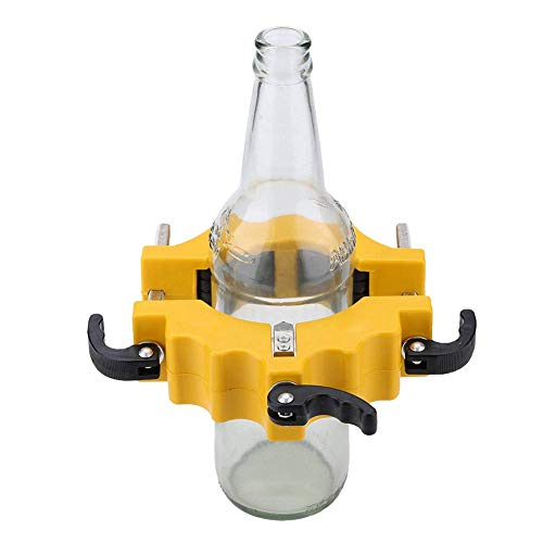 Cortador de botellas de vidrio, cortador de botellas de metal ajustable, máquina de reciclaje para cortar cerveza, champán, botellas de vino tinto y frascos (amarillo)
