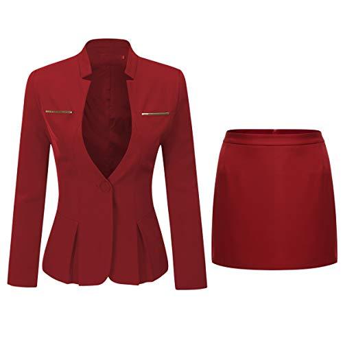 Yynuda - Completo tailleur da donna, 2 pezzi, Slim Fit, Giacca a bottone unico, con gonna o pantalone, da ufficio, rosso, S