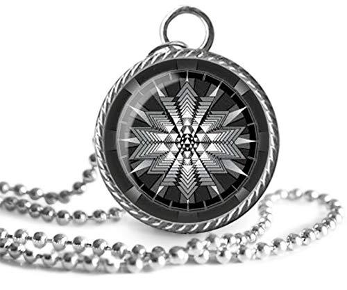 Sri Yantra Halskette, heilige Geometrie, Mandala, spirituell, buddhistisches Bild Anhänger, handgefertigt