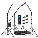 Neewer 2,4G RGB LED Palo de Luz, 3-Pack Kit de Iluminación para Fotografía con Control Remoto, 21W Regulable 3200k ~ 5600K / CRI95 + / 360° a Todo Color / 10 Efectos con Soporte de Escena con Soporte