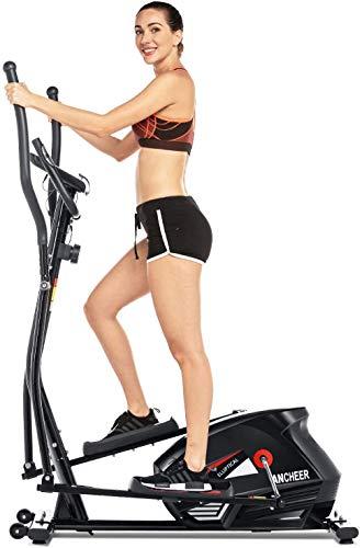 ANCHEER Elliptique Fitness Vélo d'exercice 10 Niveaux de résistance/Affichage LCD/Support de la Tablette/Test de fréquence Cardiaque/Silencieux/Charge maximale:330Ibs (Noir)