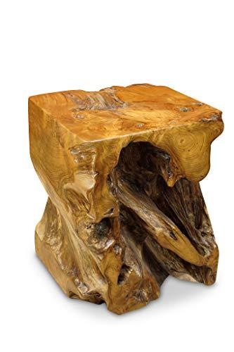 Kinaree Wurzelholz Beistelltisch MABA - 40cm massiver Teak Beistelltisch in rustikaler Optik, auch als Blumenständer geeignet