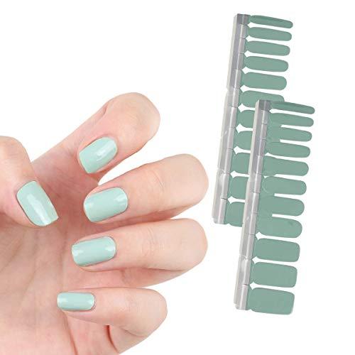 HIGH'S 20 Pcs Nail Wraps Decals Art Sticker Nail Polish Patch Strips, Sage Green