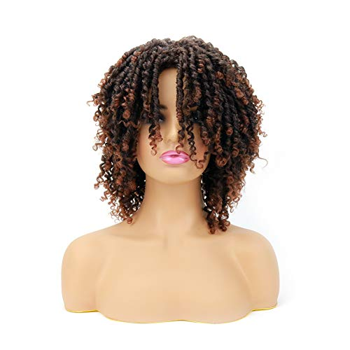 POUTHER Dreadlocks Wigs Short Twist Wig for Black Women 6 Inch Ombre Curly Synthetic Braided Wig