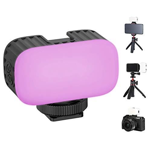 VL15 RGB Light On Kamera LED Video Licht Kleine Kamera Lichter mit Cold Shoe Erweiterung für Sony Kamera DSLR Smartphone Action Kamera Wiederaufladbare Fülllicht Filmen Video Shooting Zubehör
