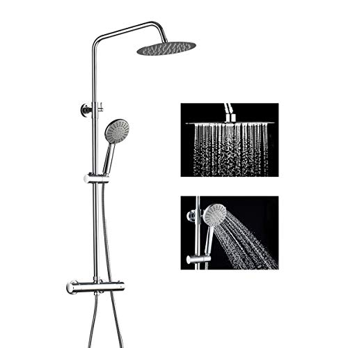 ROVOGO Thermostatic Shower System Set with Brass Mixing Valve Faucet, 10-inch Rainfall Shower Head...