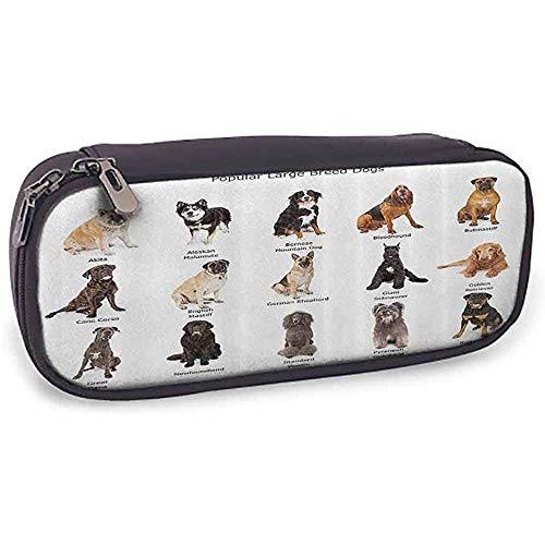 Colección de bolsas de almacenamiento de lápices Grupo de perros de razas grandes Juntos Bullmastiff Akita de Alaska Beige bernés Marrón Negro