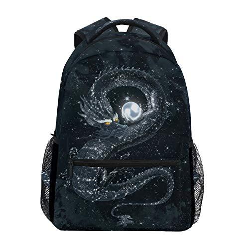 QMIN Rucksack Galaxy Asiatischer Chinesischer Drache Schule Büchertasche Reise College Daypack Laptop Reißverschluss Wandern Camping Schultertasche Organizer für Jungen Mädchen Damen Herren