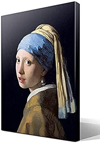 Sunsightly Johannes Jan Vermeer - Chica con Un Pendiente De Perla - Impresiones En Lienzo Pintura Imágenes Decoración Decoración del Hogar Sala De Estar - Sin Marco