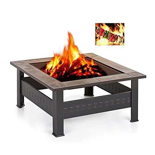 XZQ 3 In 1 BBQ Feuerstelle Multifunktional Grill Feuerkorb Feuerschale Quadratisch Aus Metall Feuerstelle Mit Wasserfeste Schutzhülle Für Heizung BBQ Outdoor Garten Terrasse