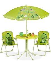 Relaxdays Camping kinderzitgroep, kinderzitgarnituur m. Parasol, klapstoelen & tafel, monstermotief, tuin, groen