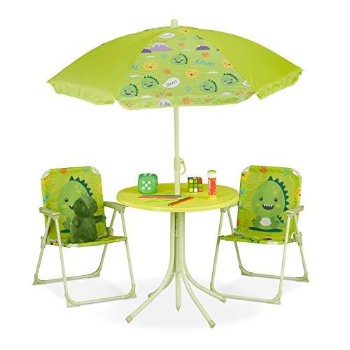Relaxdays Camping Kindersitzgruppe, Kindersitzgarnitur m. Sonnenschirm, Klappstühle & Tisch, Monster Motiv, Garten, grün