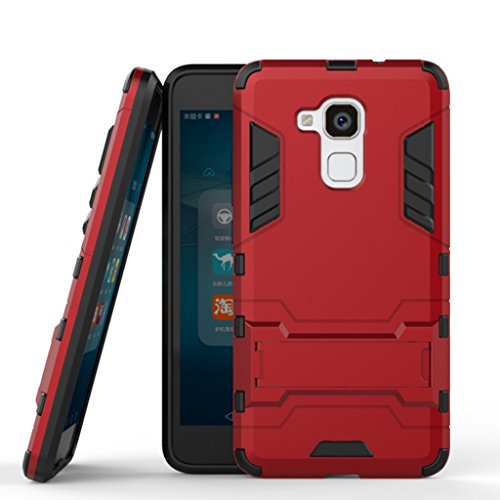 Hülle für Honor 5C / Honor 7 Lite/Huawei GT3 (5,2 Zoll) 2 in 1 Hybrid Dual Layer Shell Armor Schutzhülle mit Standfunktion Case (Rot)