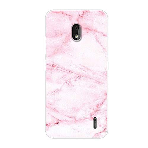 Aksuo for Nokia 2.2 Case Cover, TPU Gel Silicone Creative Custodia Trasparente Cristallo Chiaro Bumper Soft Morbido Ultra Slim Skin Protezione - Marmo Rosa