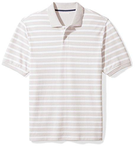 Amazon Essentials Regular-Fit Cotton Pique Polo Shirt Poloshirt, Graue Streifen, XS
