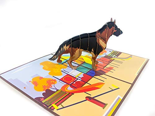 Chao Cards German Shepherd 3D Pop Up Greeting Card - Handmade Gift for Dog Lover, Pet, Friend, Wife, Husband on Any Occasion, Birthday, Thank You, Get Well, Mother's Day, Father's Day, Valentine Day