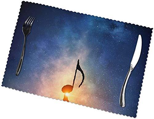 Tovagliette per bambini riutilizzabili - Music Clef Sunshine Tovagliette per tavolo da pranzo Set di 6 tappetini da cucina resistenti al calore