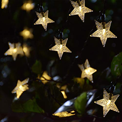 Windpnn Solar String Lights Outdoor, Solar Powered Star String Lights, 30ft 50LED Waterproof Christmas Solar String Lights for Gardens Patio Landscape Xmas Tree New Year(Warm White)