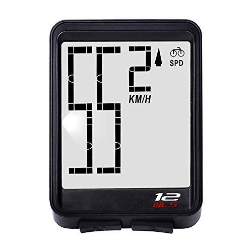 Contachilometri per Contachilometri Bici Contachilometri Contagiri Bicicletta Impermeabile Senza Fili Display LCD Multifunzione Retroilluminato per Ciclista (Black)