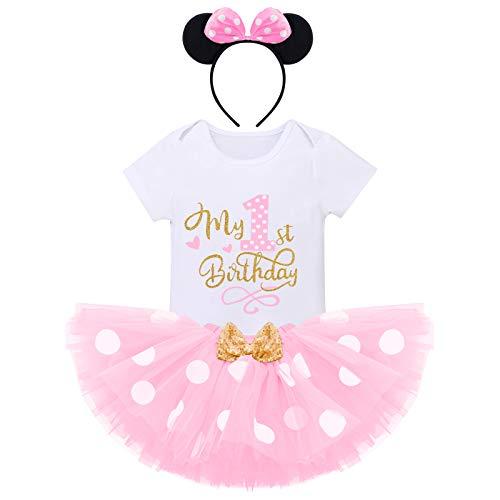 Baby Mädchen 1./2. Geburtstag Outfit Prinzessin Minnie Polka Dot Kostüm Kurzarm Strampler Top Shirt + Pailletten Bowknot Tüll Tutu + Maus Ohr Stirnband Kleinkind Fotoshooting Requisiten
