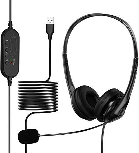 Auriculares USB con micrófono con Conector de 3,5 mm con cancelación de Ruido, micrófono para PC con Cable de conversación Clara para Salas de conferencias, teléfono, portátil, Tableta.