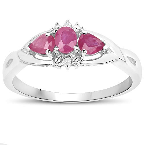 The Ruby Ring Collection: 9ct White Gold Ruby & Diamond Engagement Ring, Mother's Day, Anniversary Gift (Size S)