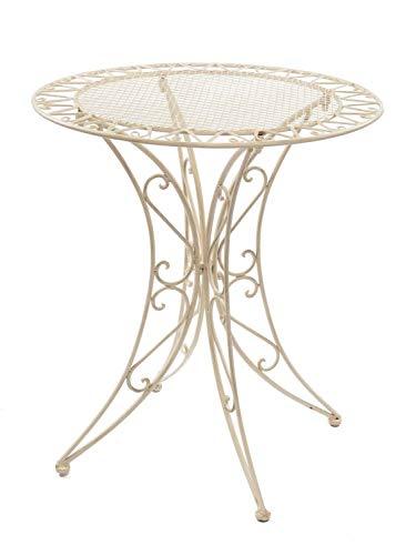 aubaho Table de Jardin - Fer forgé - Style Antique - crème/Blanc
