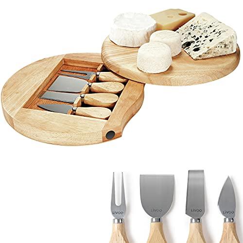 Kitchen Artist Set para Queso con Tabla y 4Piezas Cuchillos de Queso (Queso Cuchillo, Tabla de quesos, Redonda–Tabla de Servir, Quesera,–Cortador de Queso)