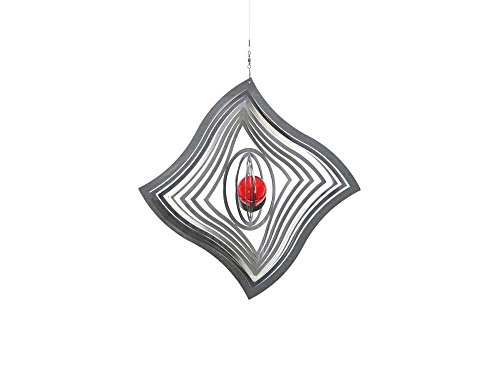 Illumino Edelstahl-Windspiel Mistral Helius Easy mit rubinroter 35mm Glaskugel - durchgefärbte Glaskugel - rostfreies Edelstahl