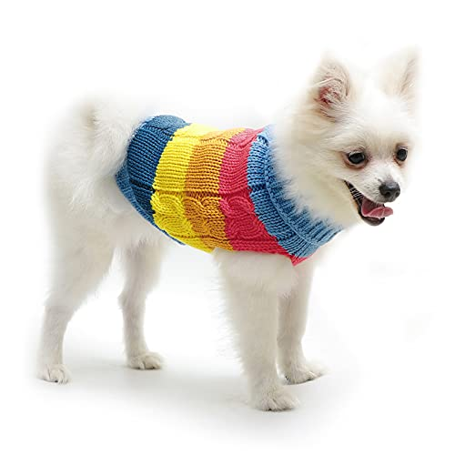 Suéteres para perros y gatos, suéter de punto para invierno, abrigos para cachorros, chaqueta, chalecos, sudaderas para perros pequeños y medianos (azul, mediano)