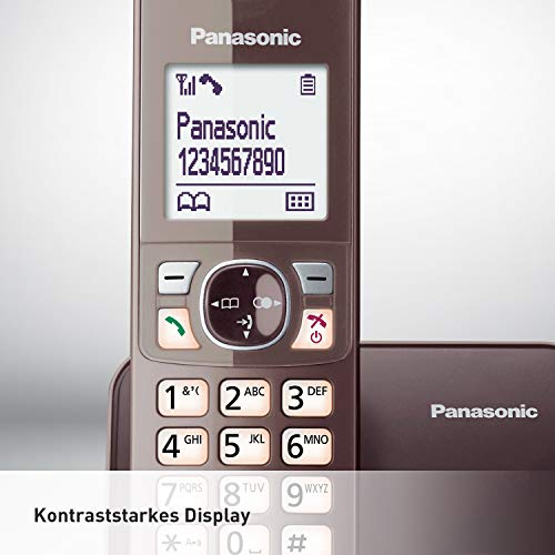 Panasonic KX-TG6811GA DECT Schnurlostelefon (strahlungsarm, Eco-Modus GAP Telefon, ohne Anrufbeantworter, Festnetz, Anrufsperre) mocca-braun