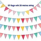 Hotupark 50 Stück Wimpel,Nachgeahmt Sackleinen Material Doppelseitiges Wimpelkette,Dreieck Fahnen Girlande für Geburtstag,Hochzeit,Outdoor,Indoor Aktivität,Party Dekoration (20M)