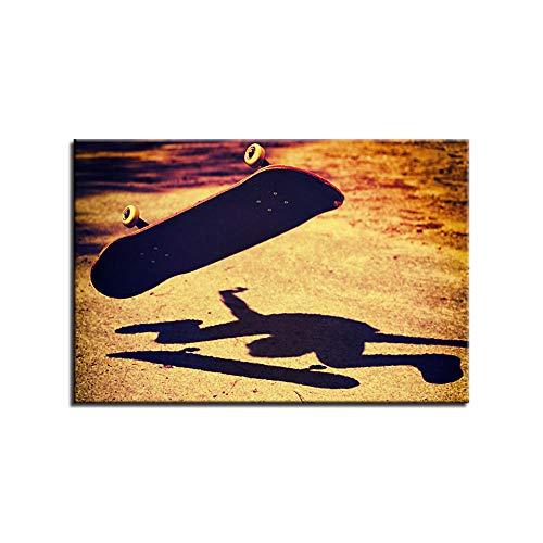 Pintura De Lienzo Pintura De Arte De Pared Para Decoración Del Hogar Decoración Pieza De Regalo Estirada Por Marco De Madera Listo Para Colgar La Sombra De Una Patineta Al Sol. 20x30cm Framed