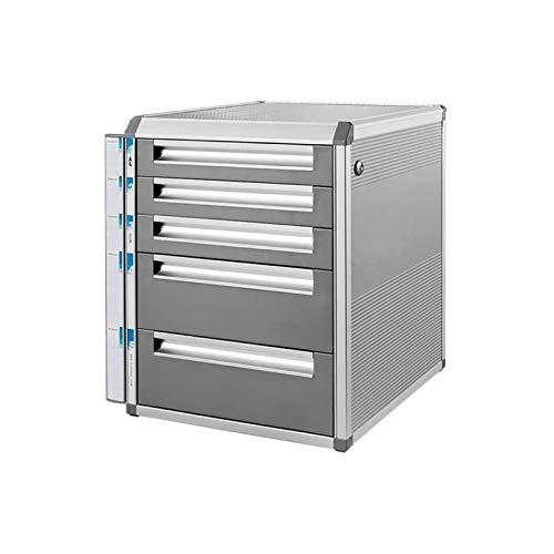 Soporte de archivo duradero, Rack de archivos de almacenamiento de oficina de oficina multifunción, gabinete bajo de 5 capas con cerradura, aleación de aluminio A4 Tipo de cajón de papel Archivo de es