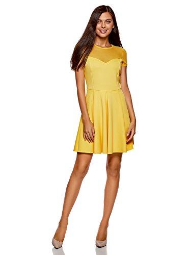 Vestido de amarillo de punto combinado