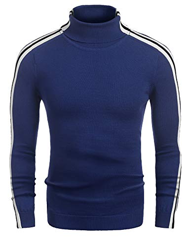 Coofandy Mens Casual Slim Fit Stripe Ribbed Knit Pullover Turtleneck Sweater, Blue, XX-Large
