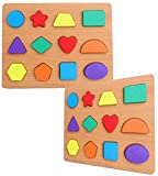 Toyshine Wooden Shape Puzzles, Vibrant Color Puzzles for Toddlers 3 Years Old