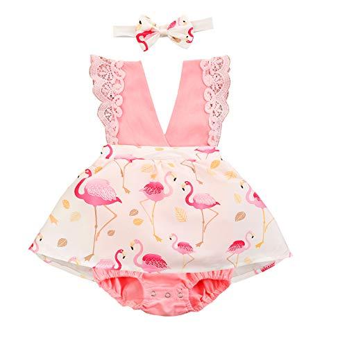 L&ieserram Florales Vestidos niña 2 uds. Cinta + pajita para bebé como tutú estampado flor flamenco manga corta con encaje primavera verano otoño Rosa 18-24 Meses