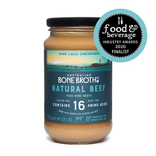 Australian Beef Bone Broth Concentrate- Natural Beef Instant Bone Broth Beverage - Gluten & Dairy Free - Great for Soups, Stock, Broth Beverage Drink.375- Grams Glass Jar