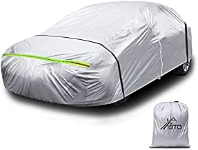Sedan Car Cover Waterproof All Weather Outdoor Car UV Protection Breathable Windproof Dustproof Snow Rain Hail Sun Protection with Zipper Universal Automotive (177