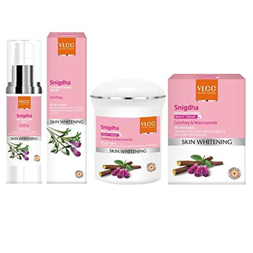 VLCC Snigdha Skin Whitening Spot Fading Serum (40ml) & Snigdha Skin Whitening Night Cream (50g), 2 Pieces