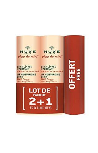 Nuxe Rêve de Miel Stick Lèvres Hydratant Lot de 2 x 4 g + 1 Stick Offert