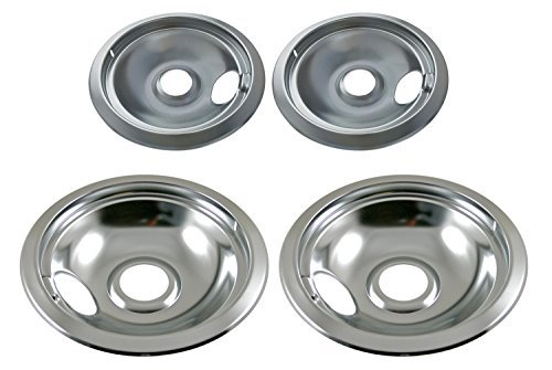 KITCHEN BASICS 101 316048413 and 316048414 Replacement Chrome Drip Pans for Frigidaire Kenmore - Includes 2 6-Inch and 2 8-Inch Pans, 4 Pack