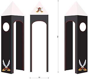 XXL Discount Tenda a Tartaruga 100% Cotone per Letto a soppalco da Gioco, Letto a Castello, per cameretta Bambini, Torre con Struttura a Torre (Nero/Bianco, pirato)