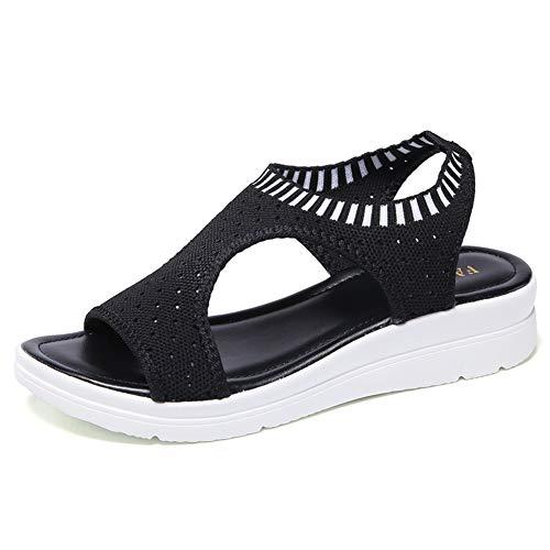 Sandalias de tacón de cuña para Mujer Zapatos Planos Confort al Aire Libre Casual de Playa Slip en Verano Peep Toe Plataforma Zapatos de tacón