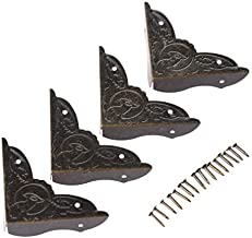 4 stuks Metalen Haakse Beugel Beugel Antiek Messing Hoek Beugel Sieraden Case Houten Doos Voeten Been Decoratieve Hoekbesc...